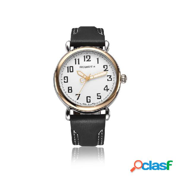REBIRTH RE032 Oro Caso reloj de pulsera de cuero de cuero