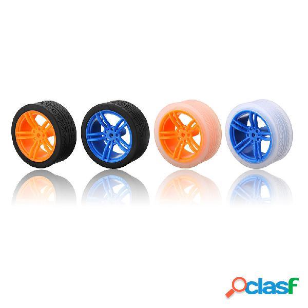 Ruedas de goma azul / naranja de 65 * 27 mm para el chasis
