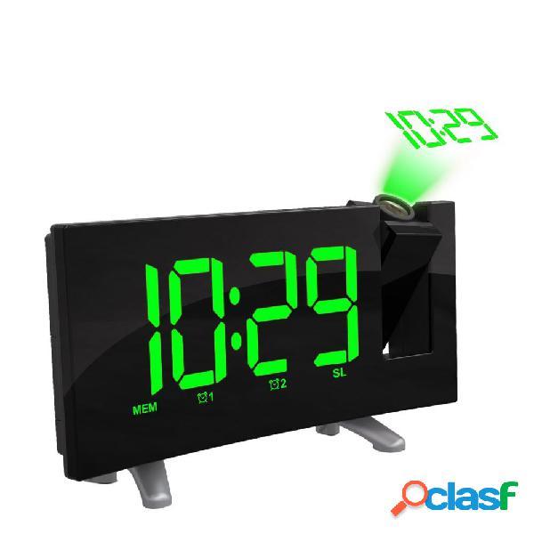 Sensible LED Proyección digital Reloj FM Radio Alarma doble