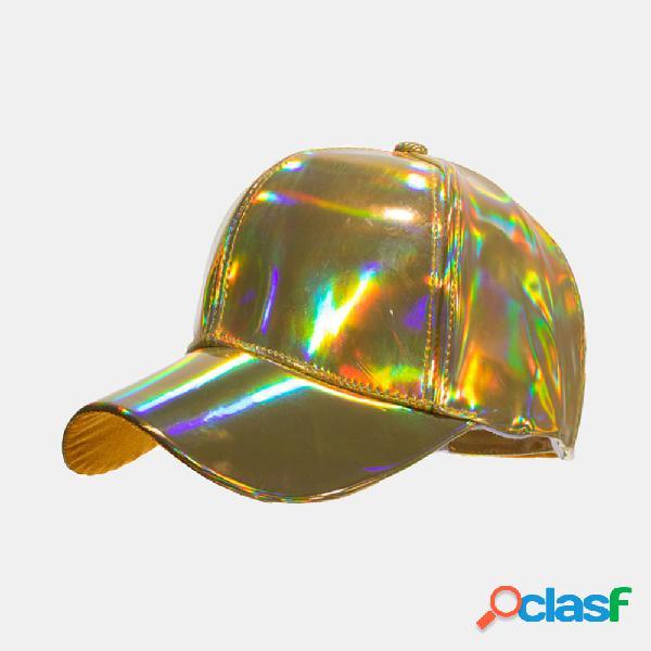 Unisex PU Pure Color Version Láser Gorra de béisbol Sun