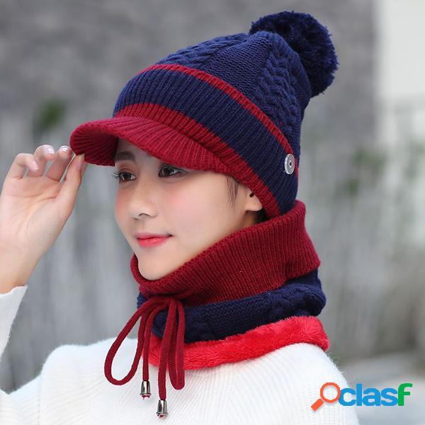 vendimia Winter Windproof Plus Velvet Knit Sombrero Conjunto