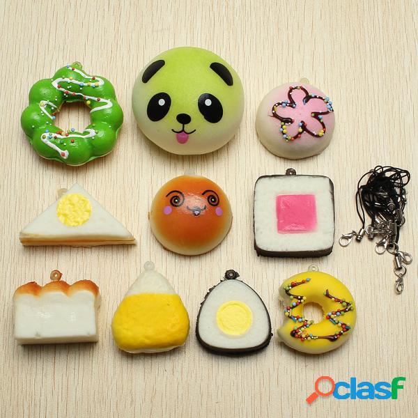 10Pcs Kawaii Squishy juguete suave panda pan de pan pastel