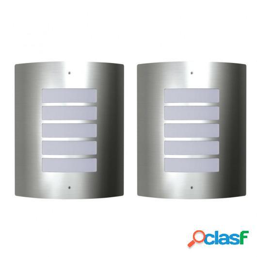 2 Apliques de exterior, lámparas de pared de acero