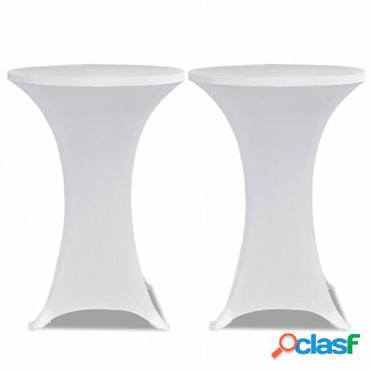 2 Manteles blancos ajustados para mesa de pie - 70 cm