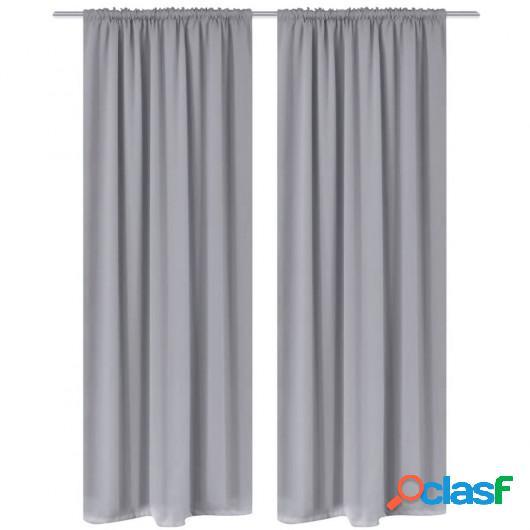 2 cortinas grises oscuras con jaretas, blackout 135 x 245 cm