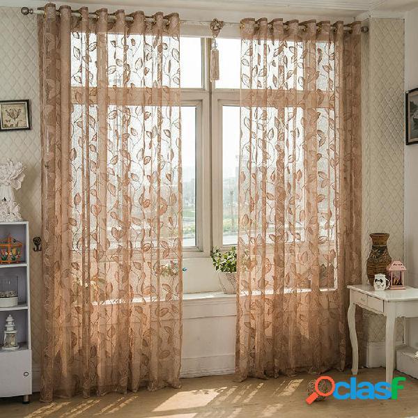 2 paneles transpirables medio-negro Voile cortinas cortinas