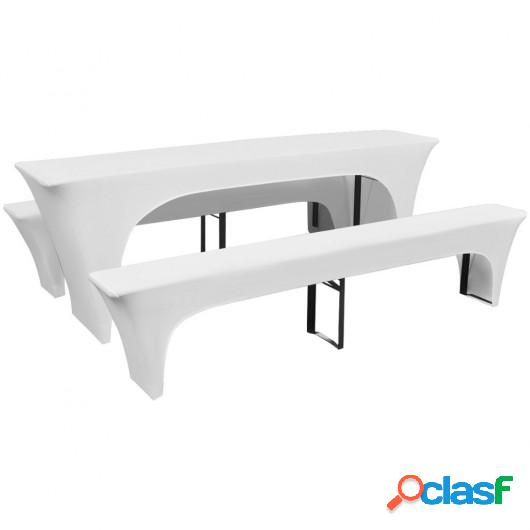3 fundas blancas estirables para mesa y 2 bancos 220x50x80