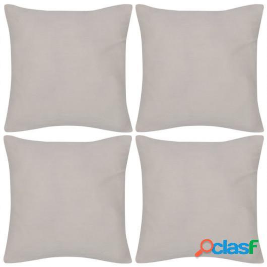 4 fundas beige para cojines de algodón, 50 x 50 cm