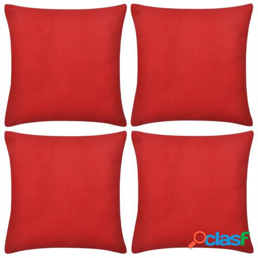 4 fundas rojas para cojines de algodón, 50 x 50 cm
