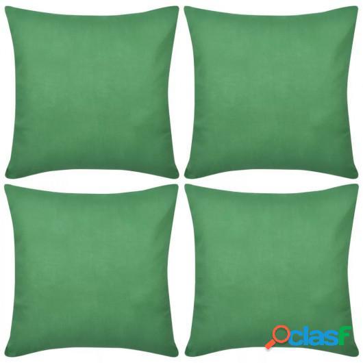 4 fundas verdes para cojines de algodón, 50 x 50 cm