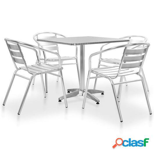 5 Piezas muebles de comedor de jardín aluminio plateado