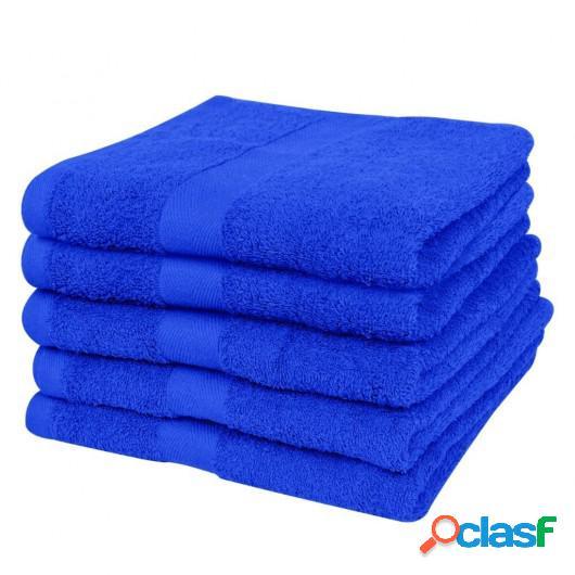 5 Toallas de algodón de color azul elegante, 70 x 140 cm,