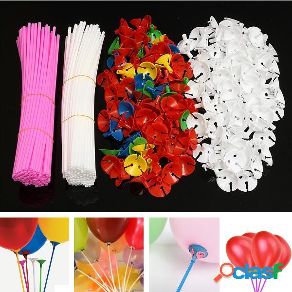 50 Palillos de globo plásticos coloridos con tazas