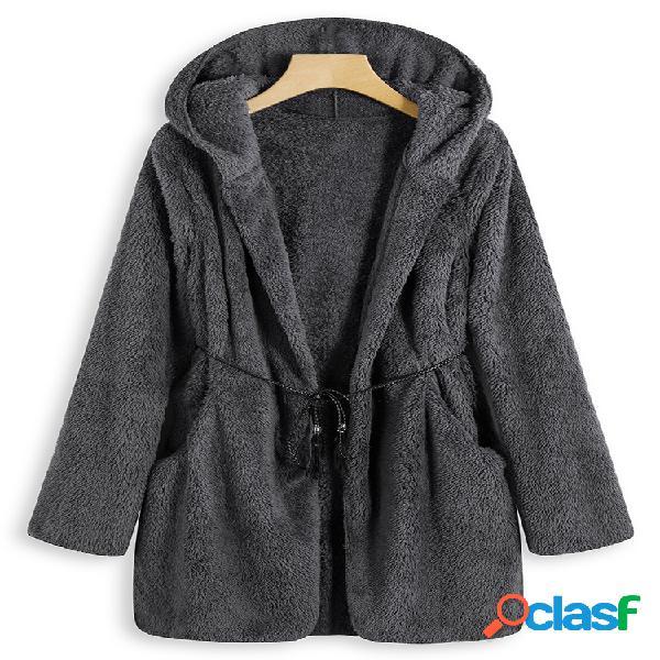 Abrigo casual de felpa de manga larga de color sólido para