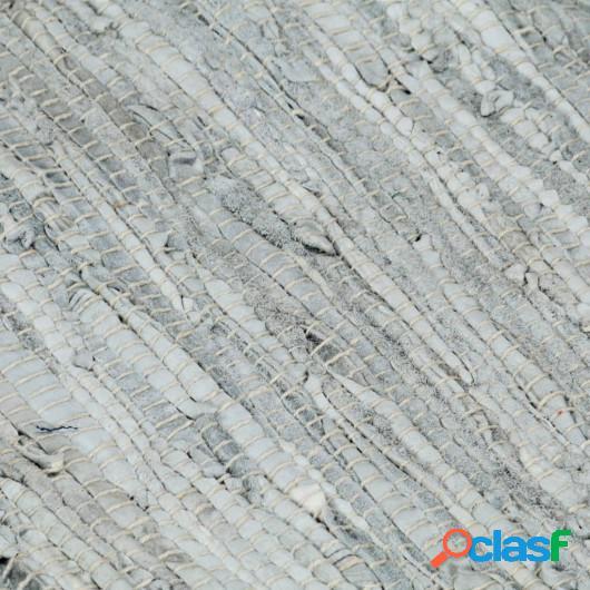 Alfombra chindi tejida a mano cuero 80x160cm gris claro y