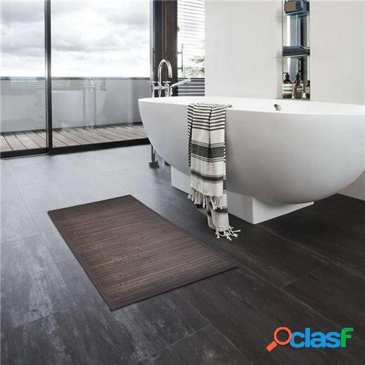 Alfombrillas de baño 4 unidades bambú marrón oscuro 40x50