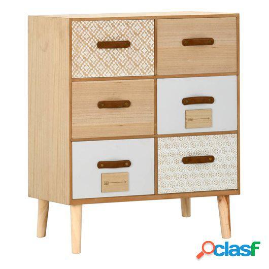 Aparador con 6 cajones madera maciza de pino 60x30x75 cm