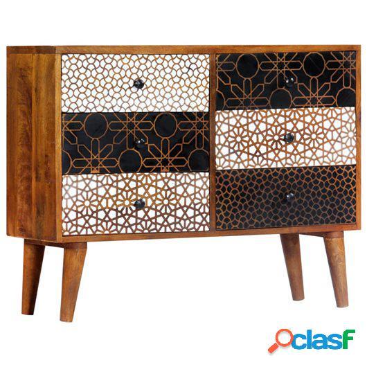 Aparador con estampado madera maciza de mango 90x30x70 cm