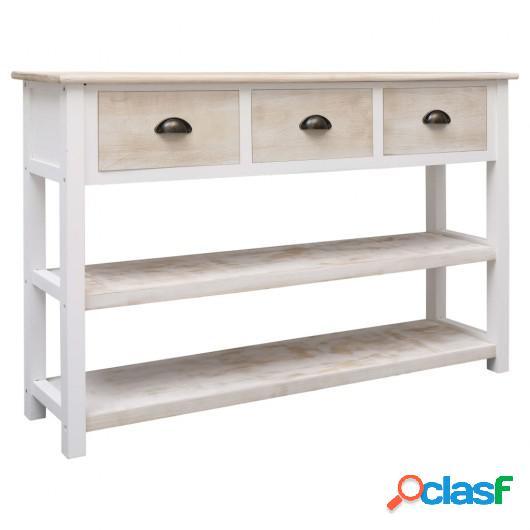 Aparador de madera color natural y blanco 115x30x76 cm