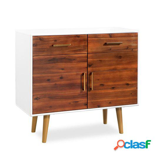 Aparador de madera maciza de acacia 90x33,5x83 cm