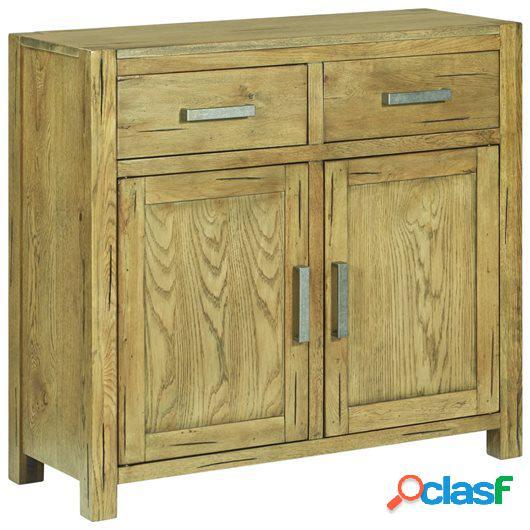 Aparador de madera maciza de roble rústica 90x35x83 cm