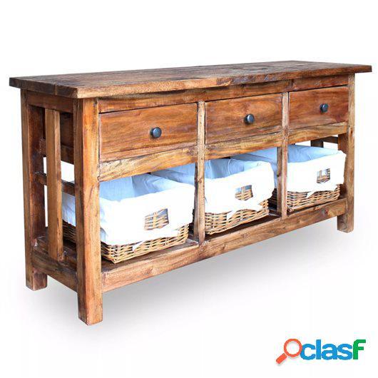 Aparador de madera maciza reciclada 100x30x50 cm