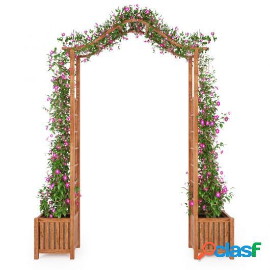 Arco de jardín con jardinera de madera maciza 180x40x218 cm