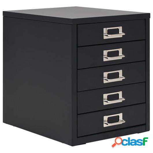 Armario archivador con 5 cajones metal 28x35x35 cm negro