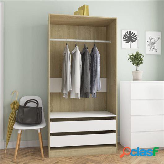 Armario de aglomerado color blanco y roble Sonoma 100x50x200