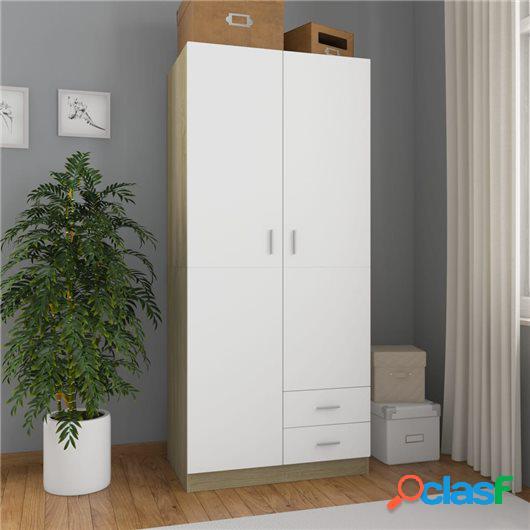 Armario de aglomerado color blanco y roble Sonoma 80x52x180