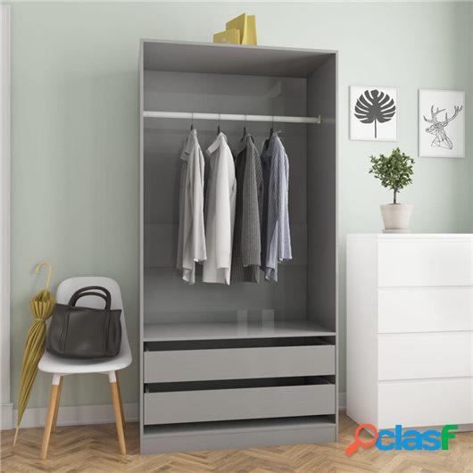 Armario de aglomerado gris brillante 100x50x200 cm