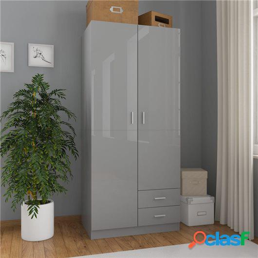 Armario de aglomerado gris brillante 80x52x180 cm