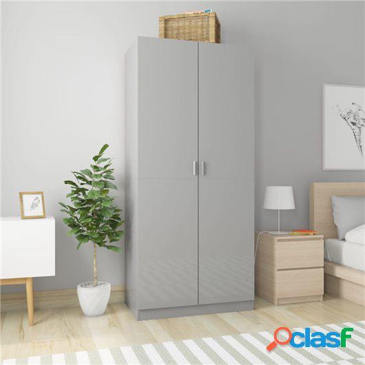 Armario de aglomerado gris con brillo 90x52x200 cm