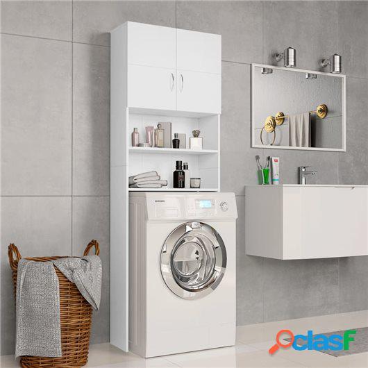 Armario de lavadora aglomerado blanco 64x25,5x190 cm