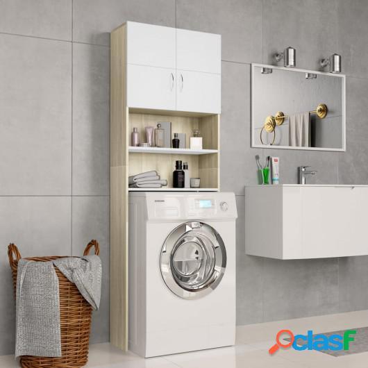 Armario de lavadora aglomerado blanco y Sonoma 64x25,5x190