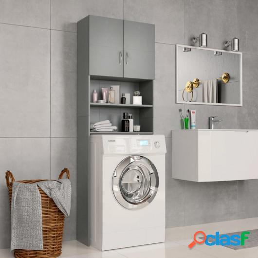 Armario de lavadora aglomerado gris 64x25,5x190 cm