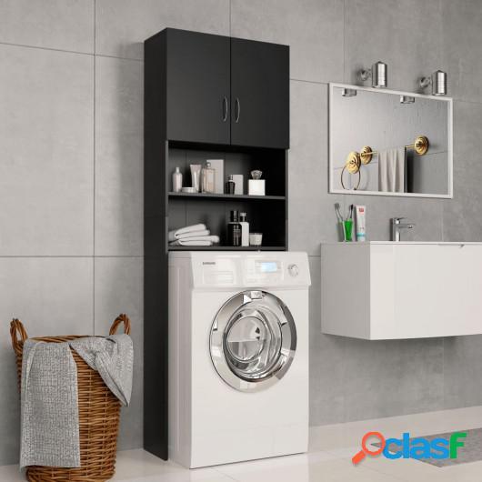 Armario de lavadora aglomerado negro 64x25,5x190 cm