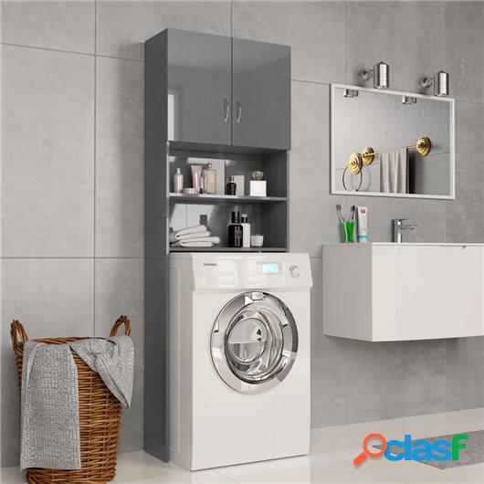 Armario de lavadora de aglomerado gris brillante 64x25,5x190