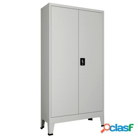Armario de oficina con 2 puertas acero 90x40x180 cm gris