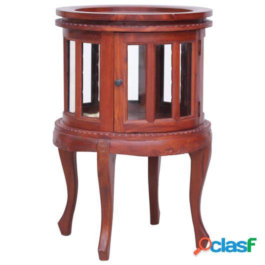 Armario vitrina de madera maciza de caoba marrón 50x50x76