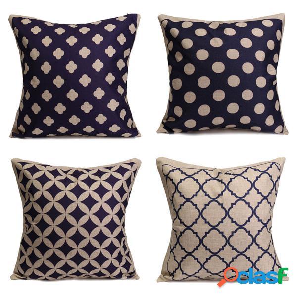 Azul geométrico de algodón de lino fundas de almohada de