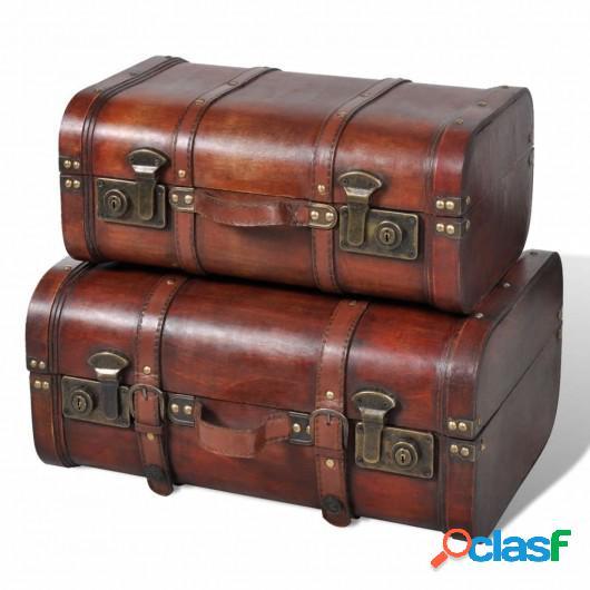 Baúl cofre de madera vintage marrón 2 unidades