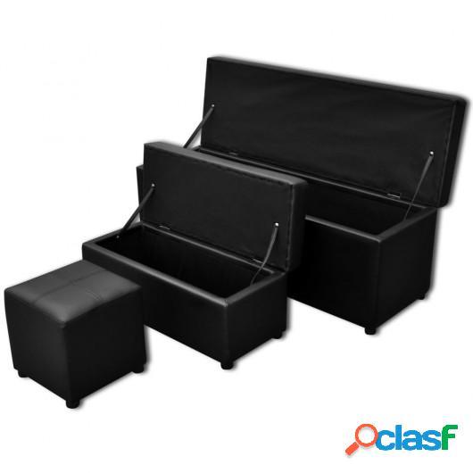 Banco baúl de interior negro con taburete, 3 unidades