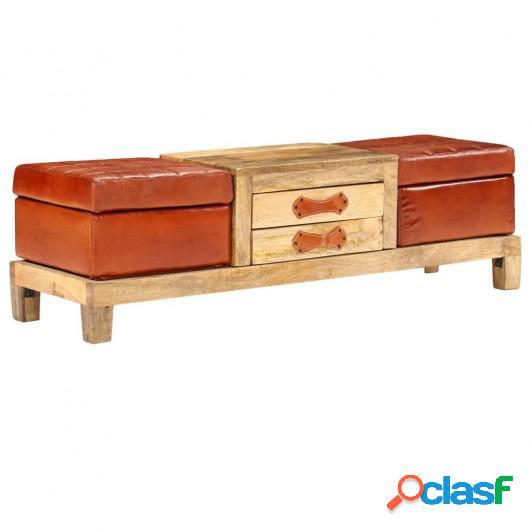 Banco de almacenaje madera mango maciza y cuero 120x36x36 cm