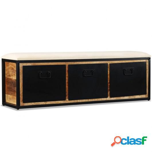 Banco de almacenamiento 3 cajones madera de mango 120x30x40