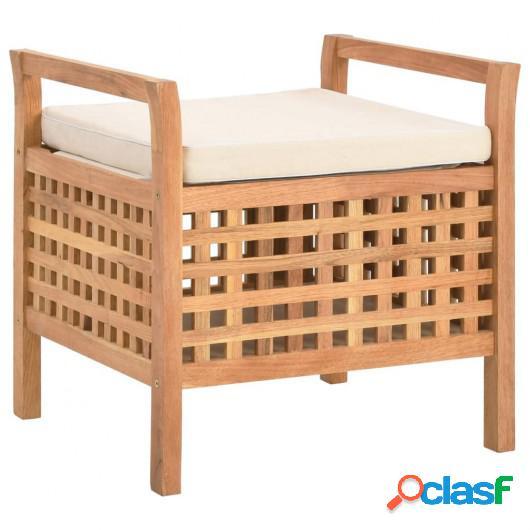 Banco de almacenamiento de madera maciza de nogal 49x48x49