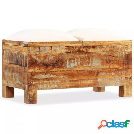 Banco de almacenamiento de madera reciclada maciza 80x40x40