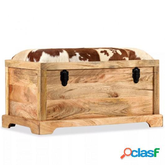 Banco de almacenamiento madera maciza y cuero real 80x44x44