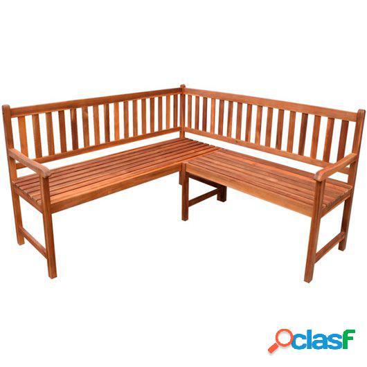 Banco de esquina de jardín 150 cm madera maciza de acacia