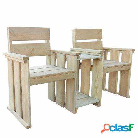 Banco de jardín 2 asientos 150 cm madera de pino impregnada